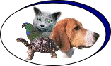 Clinic Logo showing  Dog, Cat, bird, Turtle.